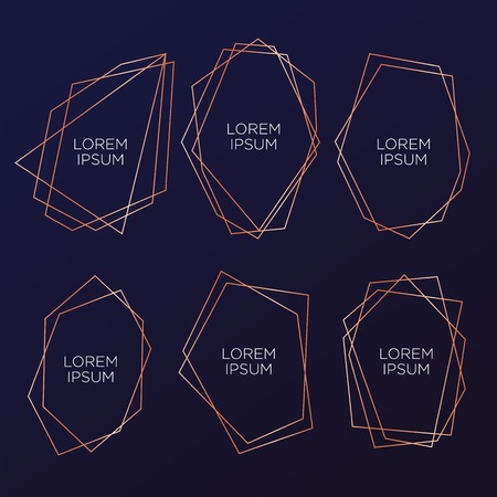 Illustration pour Gold collection of geometrical polyhedron, art deco style for wedding invitation and birthday party, luxury elegant templates, decorative patterns, Modern abstract elements, vector illustration, isolated on navy blue backgrounds - image libre de droit
