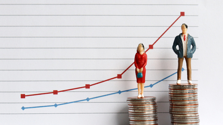 Photo for Miniature people standing on a pile of coins in front of a graph. The concepts of continuing gender inequality. - Royalty Free Image