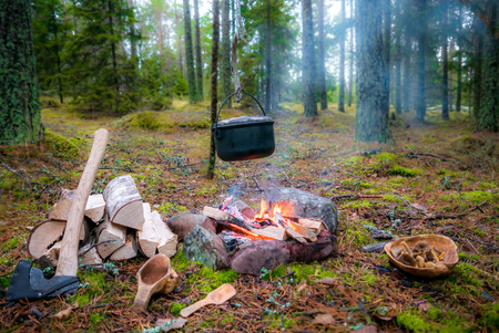 Photo for Fire pit for bush craft with a hanging pot, firewood, an axe and a kuksa. Also a wooden plate filled with mushrooms. Taken on Aland Islands, Finland. - Royalty Free Image