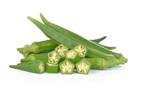 Photo pour okra isolated on white background - image libre de droit
