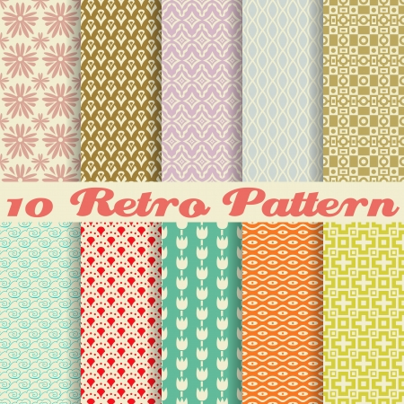 Ilustración de 10 Retro different vector seamless patterns (tiling). Endless texture can be used for wallpaper, pattern fills, web page background,surface textures. Set of monochrome geometric ornaments. - Imagen libre de derechos