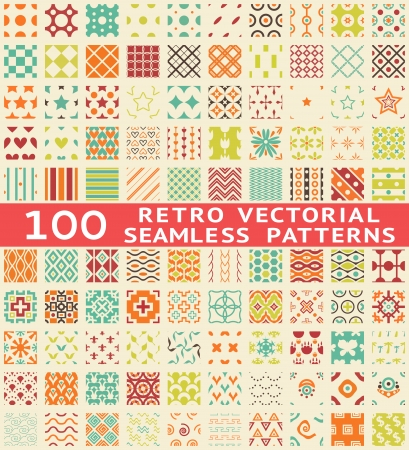 Retro different vector seamless patterns (with swatch). Endless texture can be used for wallpaper, pattern fills, web page background, surface textures. Set of vintage color geometric ornaments.