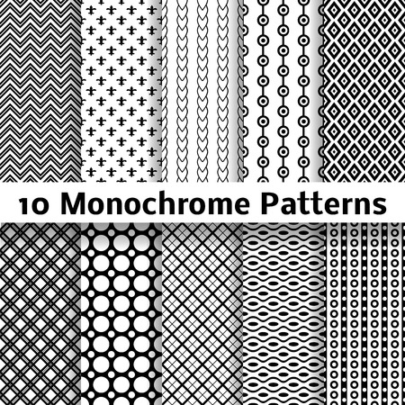 Illustration pour 10 Monochrome different vector seamless patterns (tiling). Endless texture can be used for wallpaper, pattern fills, web page background, surface textures. Set of black and white geometric ornaments. - image libre de droit