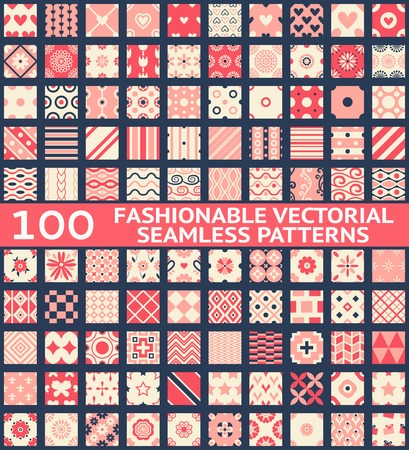 Ilustración de 100 Fashionable vintage vector seamless patterns (with swatch, tiling). Retro pink, white and blue colors. Texture for wallpaper, web page background, fabric and paper. Set of geometric ornament. - Imagen libre de derechos