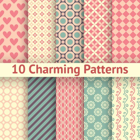 Illustration pour 10 Charming different vector seamless patterns (tiling). Sweet pink, blue and lemon cream colors. Endless texture can be used for printing onto fabric and paper. Heart, flower and dot shape. - image libre de droit