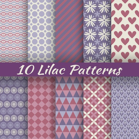 Illustration pour 10 Lilac different vector seamless patterns (with square swatches). Endless texture can be used for elegant dream wallpaper, pattern fill, web page background, surface texture. Abstract ornaments - image libre de droit