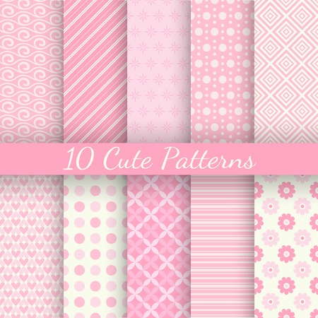 Illustration pour 10 Cute different vector seamless patterns. Pink and white colors. Endless texture can be used for sweet romantic wallpaper, pattern fill, web page background, surface textures. - image libre de droit