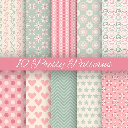 Illustration pour 10 Pretty pastel vector seamless patterns (tiling, with swatch). Endless texture can be used for wallpaper, fill, web background, texture. Set of abstract cute ornaments. Blue, beige, white colors. - image libre de droit