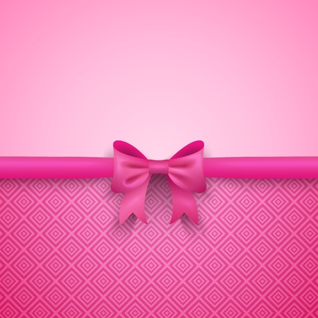 Illustration pour Romantic vector pink background with cute bow and pattern. Pretty design. Greeting card wallpaper for valentine day, birthday or woman day. - image libre de droit