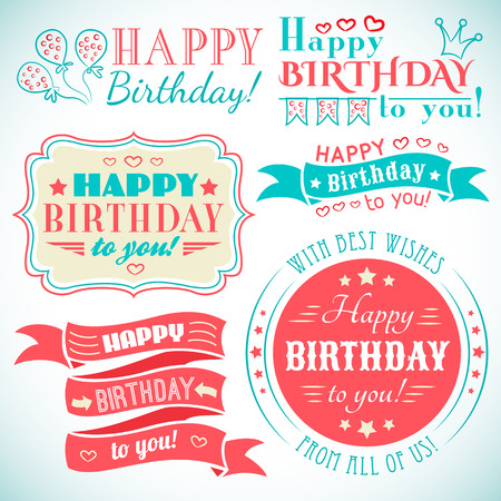 Illustrazione per Happy birthday greeting card collection in holiday design. Retro vintage style. Typography letters font type. Vector illustration for your pretty design. Red, white and blue colors. - Immagini Royalty Free