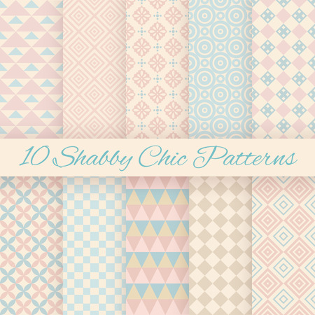 Ilustración de 10 Pastel retro different vector seamless patterns. Endless texture can be used for wallpaper, pattern fills, web page background, surface textures. Set of shabby geometric ornaments. - Imagen libre de derechos