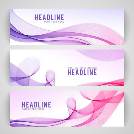 Ilustración de Set of abstract purple wave isolated on white banner background. Vector illustration for modern business design. Futuristic wallpaper. Cool element for presentation, card, flyer and brochure. - Imagen libre de derechos