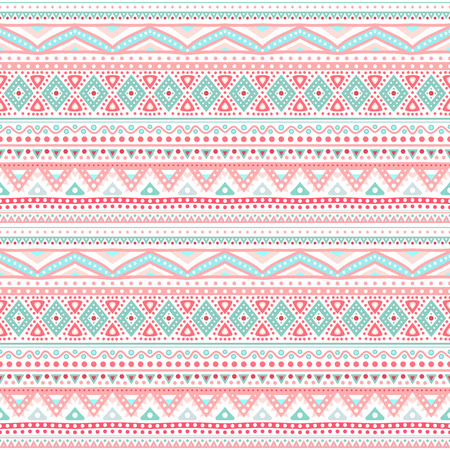 Illustration for Tribal ethnic seamless stripe pattern. Vector illustration for your cute feminine romantic design. Aztec sign on white background. Pink and blue colors. Borders and frames. - Royalty Free Image