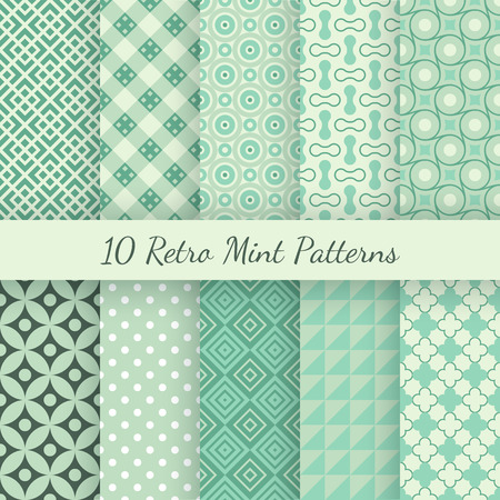 Ilustración de 10 Retro mint and emerald vector seamless patterns. Endless texture can be used for wallpaper, pattern fills, web page background, surface textures. Set of shabby vintage geometric ornaments. - Imagen libre de derechos