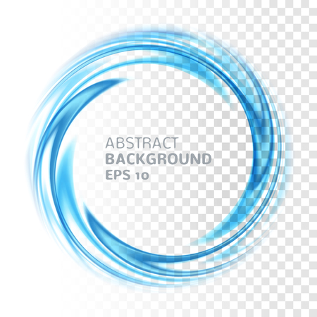 Illustration pour Abstract blue swirl circle on transparent background. Vector illustration for you modern design. Round frame or banner with place for text. Special effects. Translucent elements. Transparency grid. - image libre de droit