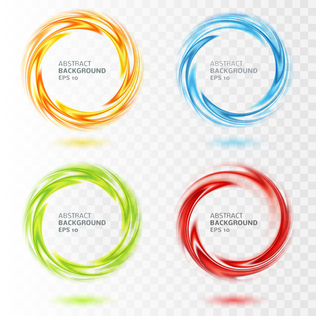 Illustrazione per Set of abstract swirl circle on transparent background. Vector illustration for you modern design. Round frame with place. Blue, yellow, orange, red, green colors. Special effect. Translucent elements - Immagini Royalty Free