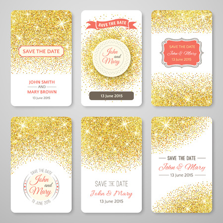 Illustration pour Set of perfect wedding templates with golden confetti theme. Ideal for Save The Date, baby shower, mothers day, valentines day, birthday cards, invitations. Vector illustration for gold design. - image libre de droit