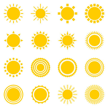 Photo for set of sun icons isolated on white background. Creative yellow sunlight symbols. Elements for weather forecast design. Solar system. Sunrise And sunset. Editable items. Flat design graphic. Vector - Royalty Free Image