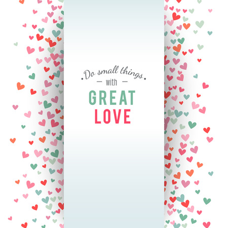 Illustration pour Romantic pink and blue heart background. Vector illustration for holiday design. Many flying hearts on white background. For wedding card, valentine day greetings, lovely frame. - image libre de droit