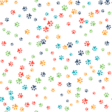Ilustración de Vector seamless pattern with cat or dog footprints. Can be used for wallpaper, web page background, surface textures. Add your text. Cute colorful paws. Animal concept. Foot steps. Veterinary. Vector - Imagen libre de derechos