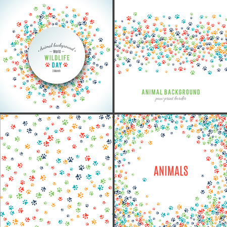 Ilustración de Background with paw prints. Set of patterns with animal paws. Free hand style illustration design. Dog or cat pet footprints. Place for your text. Mammal track. Wildlife concept. Footstep. Vector - Imagen libre de derechos