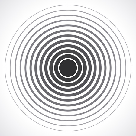 Illustration pour Concentric circle elements. Vector illustration for sound wave. Black and white color ring. Circle spin target. Radio station signal. Center minimal radial ripple line outline abstractionism - image libre de droit