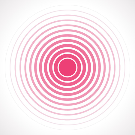 Ilustración de Concentric circle elements. Vector illustration for sound wave. Red and white color ring. Circle spin target. Radio station signal. Center minimal radial ripple line outline abstractionism - Imagen libre de derechos