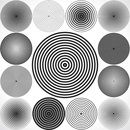Illustration pour Set of concentric circle elements. - image libre de droit