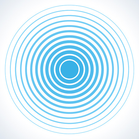 Illustration pour Radar screen concentric circle elements. Vector illustration for sound wave. White and blue color ring. Circle spin target. Radio station signal. Center minimal radial ripple line outline abstraction - image libre de droit