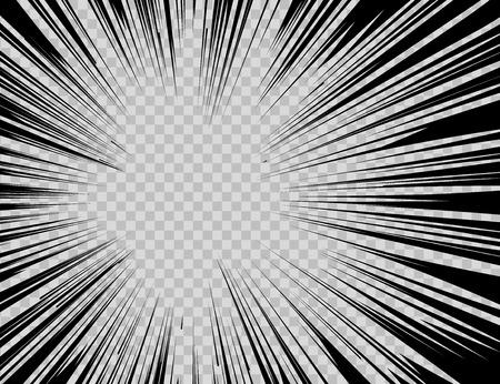 Ilustración de Abstract comic book flash explosion radial lines on transparent background. - Imagen libre de derechos