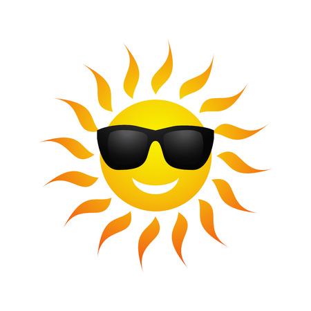 Ilustración de Cute yellow sun symbol in sunglasses isolated on white background. Vector illustration for summer design. Cartoon happy sunny icon art. Hot spring expression. Fun sunlight character. - Imagen libre de derechos