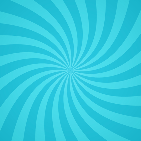 Illustrazione per Swirling radial pattern background. Vector illustration for cute sky circus design. Vortex starburst spiral twirl square. Helix rotation rays. Converging blue scalable stripes. Fun sun light beams. - Immagini Royalty Free