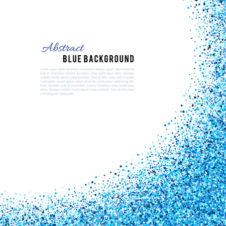 Illustration for Abstract blue vector background. Bright navy indigo cyan glitter confetti. Cold frost winter snow dot spot - Royalty Free Image