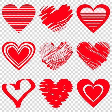 Illustration pour Red heart icons. Vector illustration for happy valentines day holiday design. Romantic shape heart symbol. Love sign graphics. Hand drawning element. Sketch doodle hearts - image libre de droit