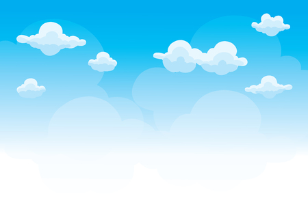Illustrazione per Group of clouds on blue sky, background of cartoon clouds, vector - Immagini Royalty Free