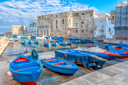 Foto de View of the italian old port city Monopoli - Italy, Puglia. Adriatic sea - Imagen libre de derechos