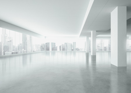Foto de White interior with large windows. 3D rendering - Imagen libre de derechos