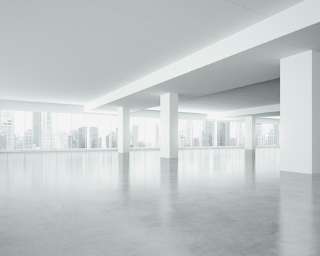 Photo for White interior with large windows. 3D rendering - Royalty Free Image