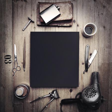 Photo pour Vintage tools of barber shop and blank canvas - image libre de droit