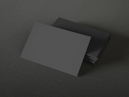 Photo pour Black business cards on textile background - image libre de droit