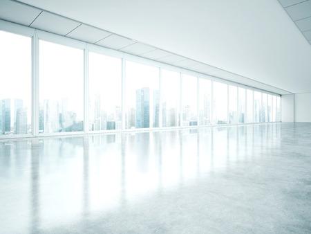 Photo pour White interior with large windows. 3D rendering - image libre de droit