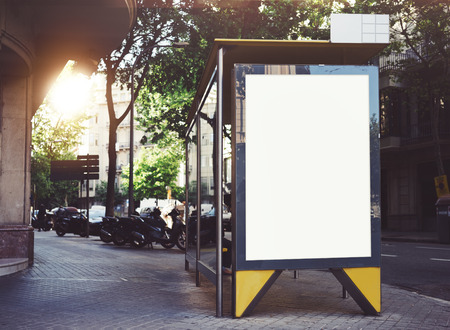 Photo pour Bus stop mockup - image libre de droit