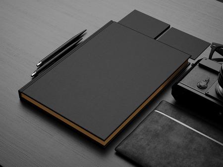 Photo for Set of black mock up. 3d render - Royalty Free Image