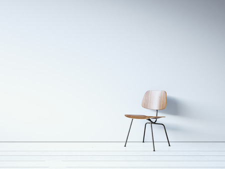 Photo for Vintage chair on the white wall. 3d render - Royalty Free Image