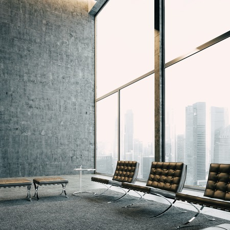 Foto de Modern loft with panoramic view and vintage chairs. With big city on the background. - Imagen libre de derechos