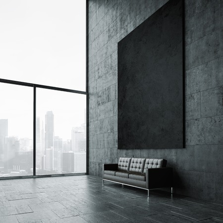 Photo pour Blank mockup of black poster on the wall and vintage leather sofa - image libre de droit