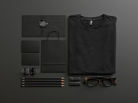 Photo pour Set of black tshirt and identity elements on black background - image libre de droit