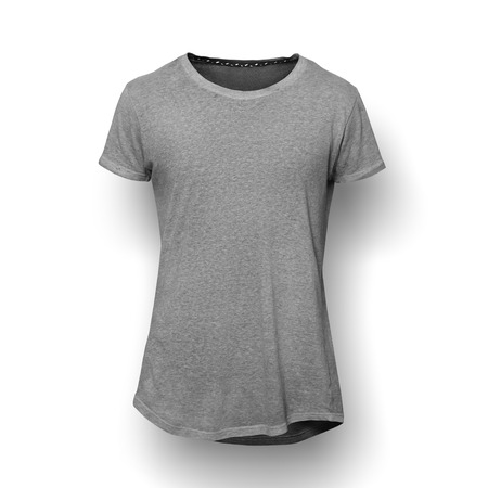 Foto de Dark grey t-shirt isolated on white wall background - Imagen libre de derechos