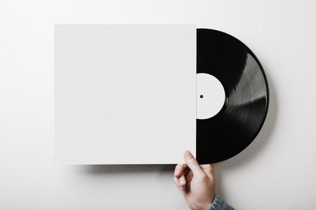 Photo pour Template of vinyl cover on white wall background - image libre de droit