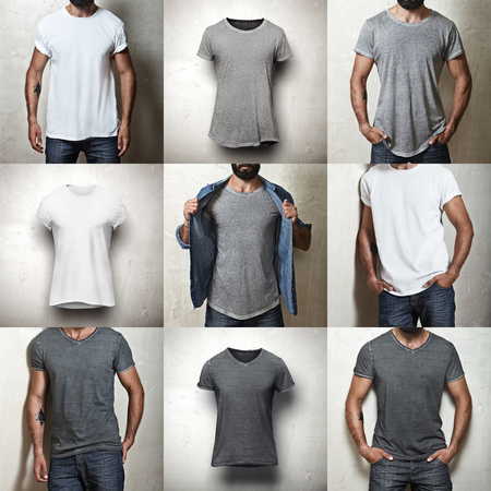Foto de Set of images of different blank t-shirts - Imagen libre de derechos